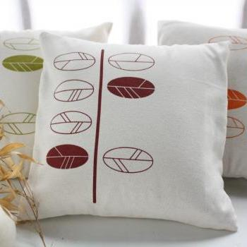 "Decorative Pillow Covers with hand printed leaves -20""x20"""